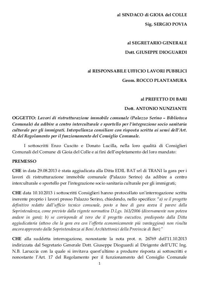 1 al SINDACO di GIOIA del COLLE Sig. SERGIO POVIA al SEGRETARIO GENERALE Dott. GIUSEPPE DIOGUARDI al RESPONSABILE UFFICIO ...