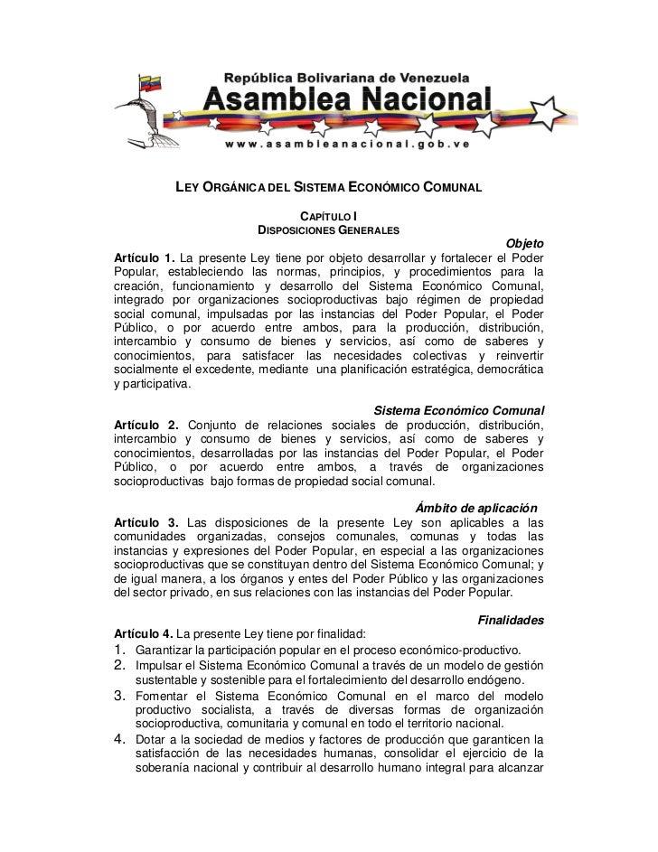LEY ORGÁNICA DEL SISTEMA ECONÓMICO COMUNAL                                 CAPÍTULO I                          DISPOSICION...