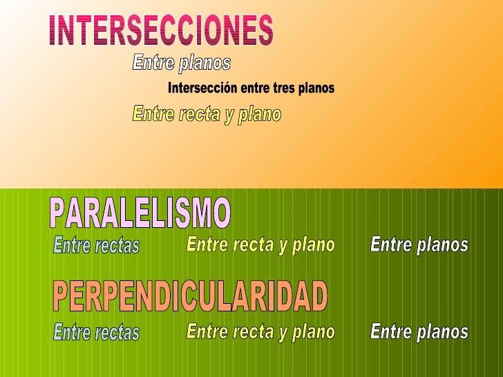 Intersecciones,Paralelismo y Perpendicularidad.