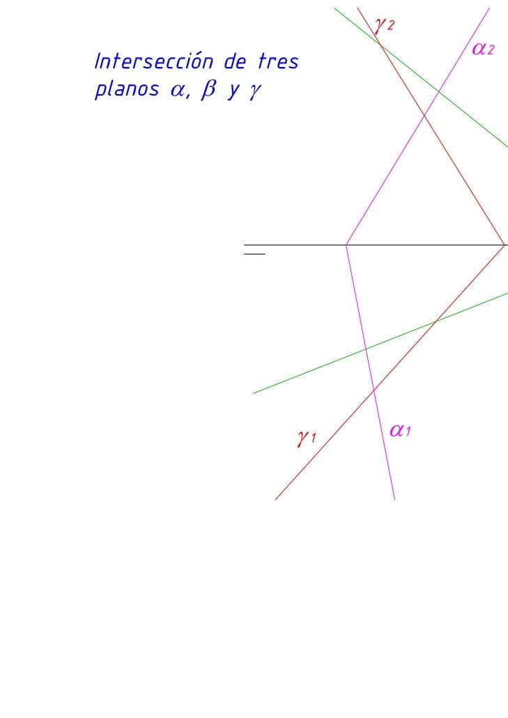 Diédrico: Interseccion de tres planos