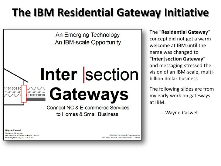 "The IBM Residential Gateway Initiative                          The ""Residential Gateway""                          concept..."