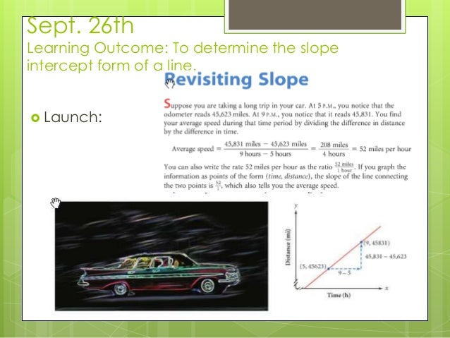 Sept. 26th Learning Outcome: To determine the slope intercept form of a line.  Launch: