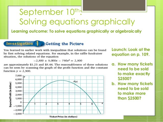 September 10th: Solving equations graphically Learning outcome: To solve equations graphically or algebraically Launch: Lo...