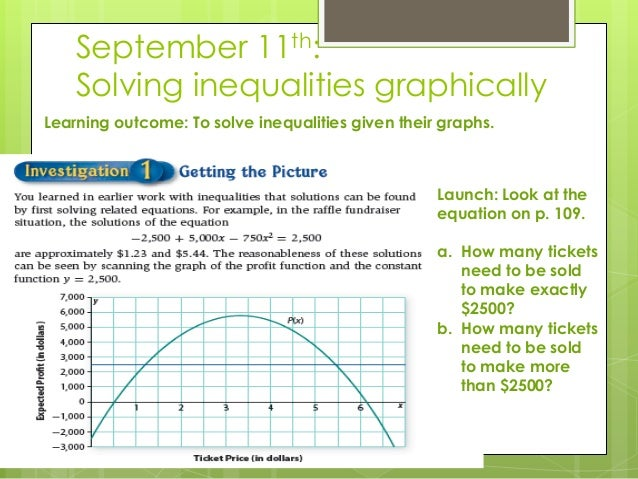 September 11th: Solving inequalities graphically Learning outcome: To solve inequalities given their graphs. Launch: Look ...