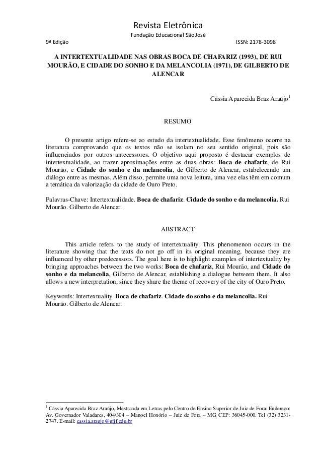 Revista Eletrônica Fundação Educacional São José 9ª Edição ISSN: 2178-3098 A INTERTEXTUALIDADE NAS OBRAS BOCA DE CHAFARIZ ...