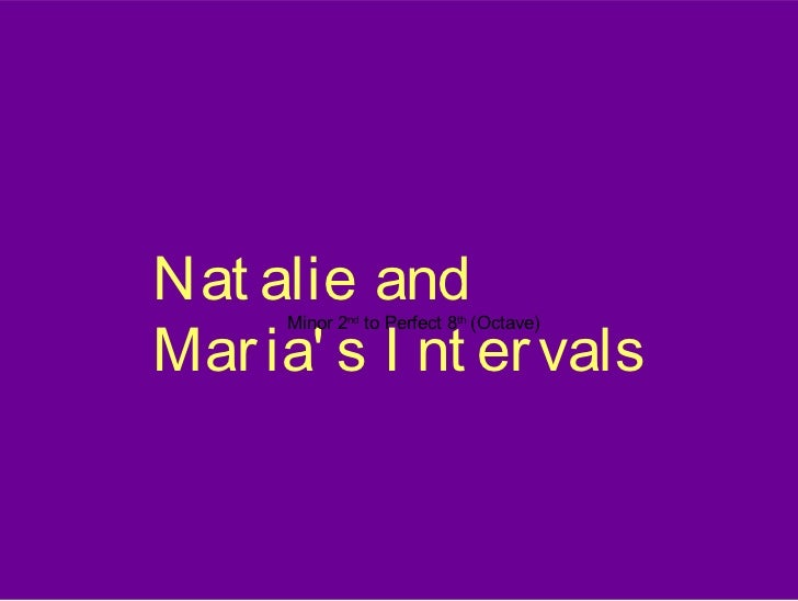 Nat alie andMar ia s I nt er vals      Minor 2nd to Perfect 8th (Octave)
