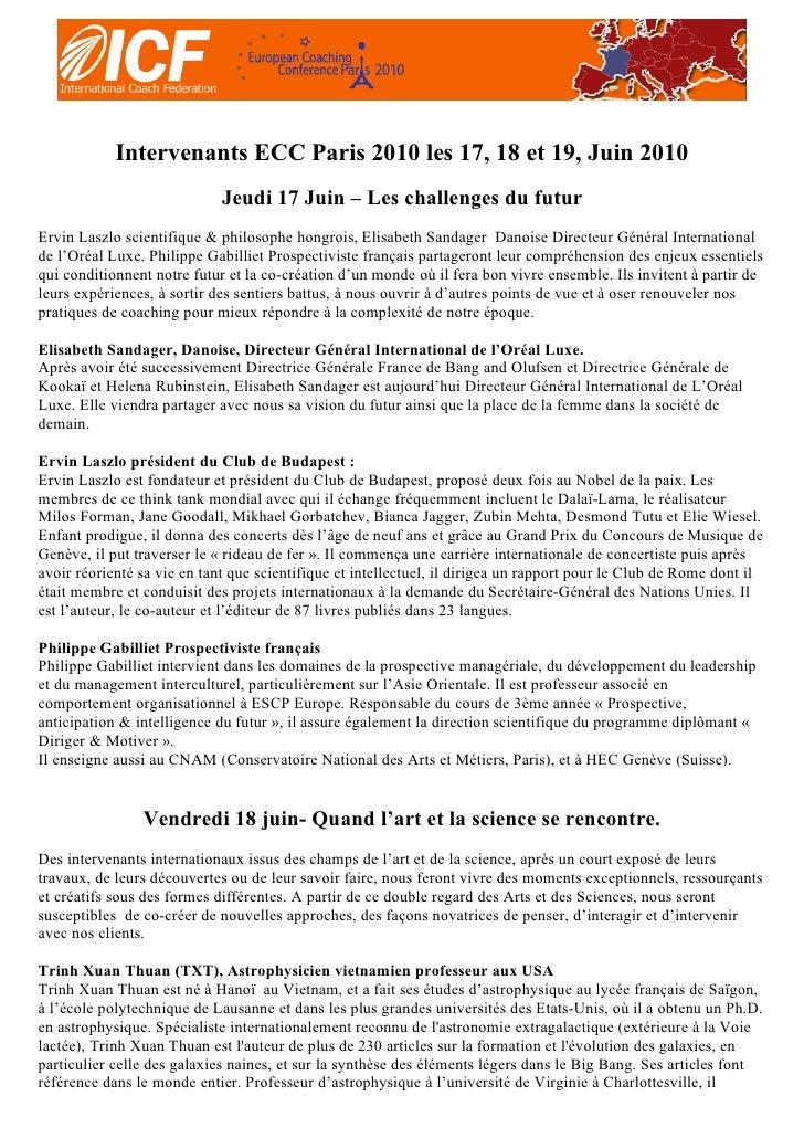 Intervenants ECC Paris 2010 les 17, 18 et 19, Juin 2010                              Jeudi 17 Juin – Les challenges du fut...