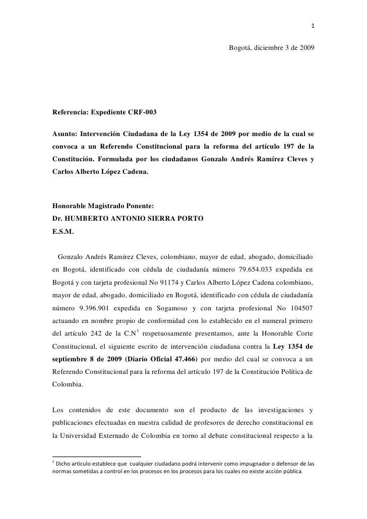 Intervención Ciudadana en contra de la ley 1354 de 2009 que convoca al referendo reeleccionista
