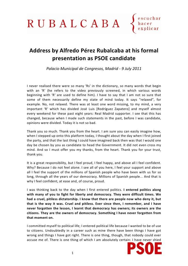 AddressbyAlfredoPérezRubalcabaathisformal            presentationasPSOEcandidate              PalacioMu...