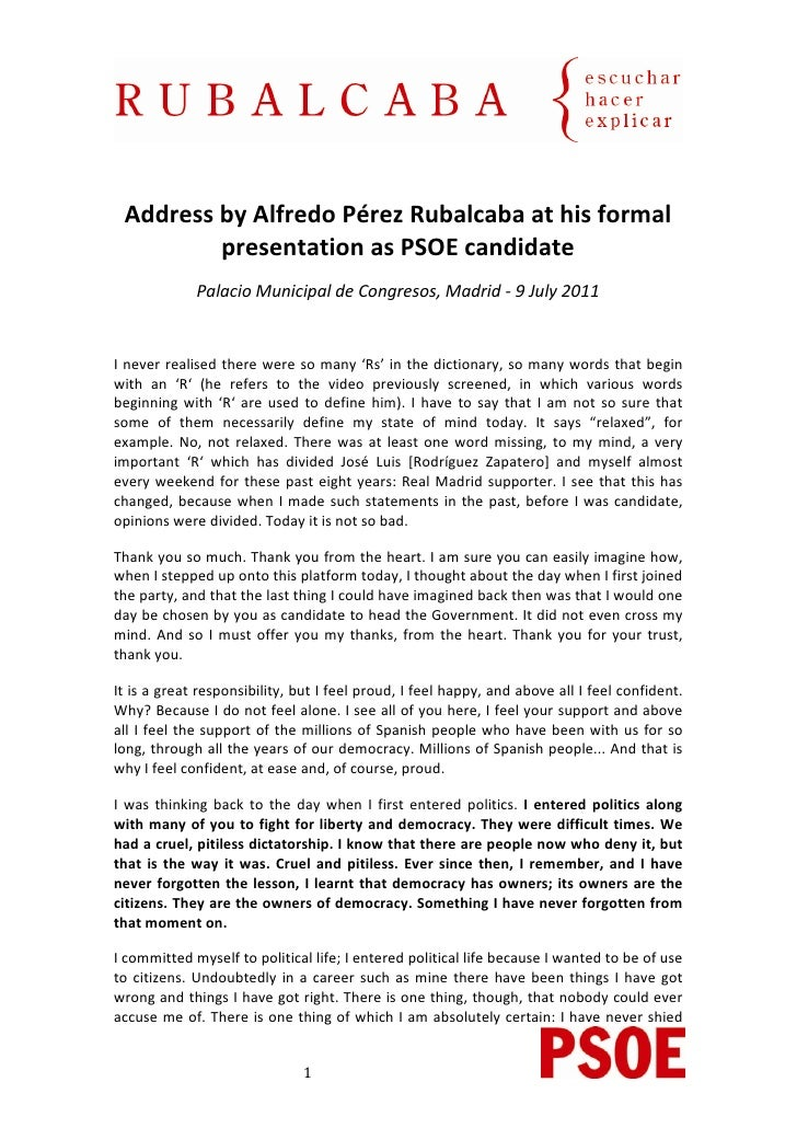 Rubalcaba (EN) Intervención acto de proclamación