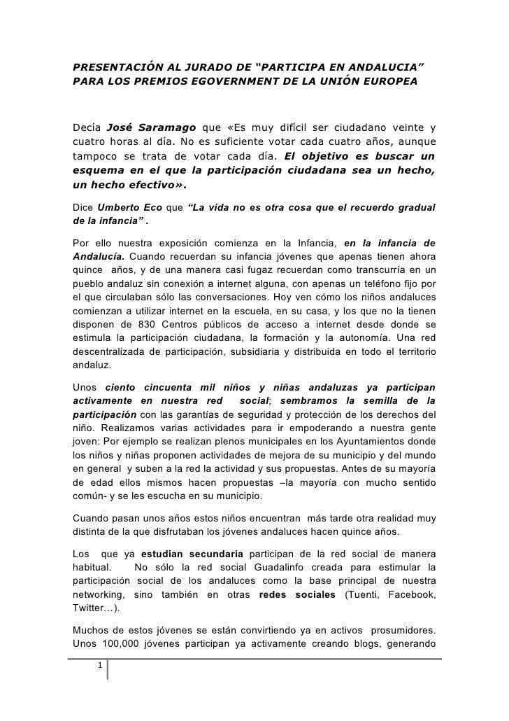 """PRESENTACIÓN AL JURADO DE """"PARTICIPA EN ANDALUCIA"""" PARA LOS PREMIOS EGOVERNMENT DE LA UNIÓN EUROPEA    Decía José Saramago..."""