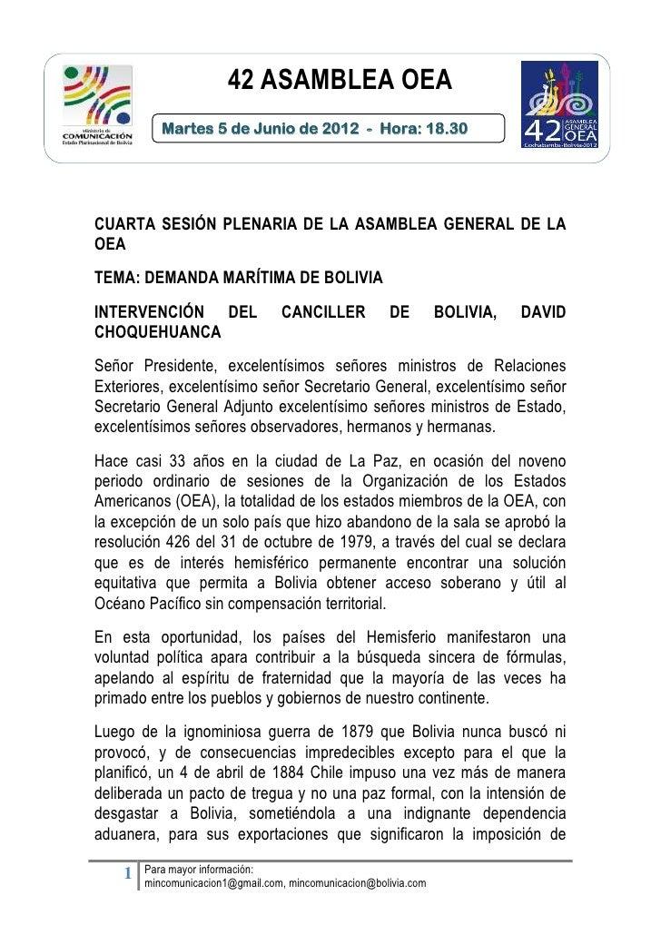 42 ASAMBLEA OEA        Texto            Martes 5 de Junio de 2012 - Hora: 18.30CUARTA SESIÓN PLENARIA DE LA ASAMBLEA GENER...
