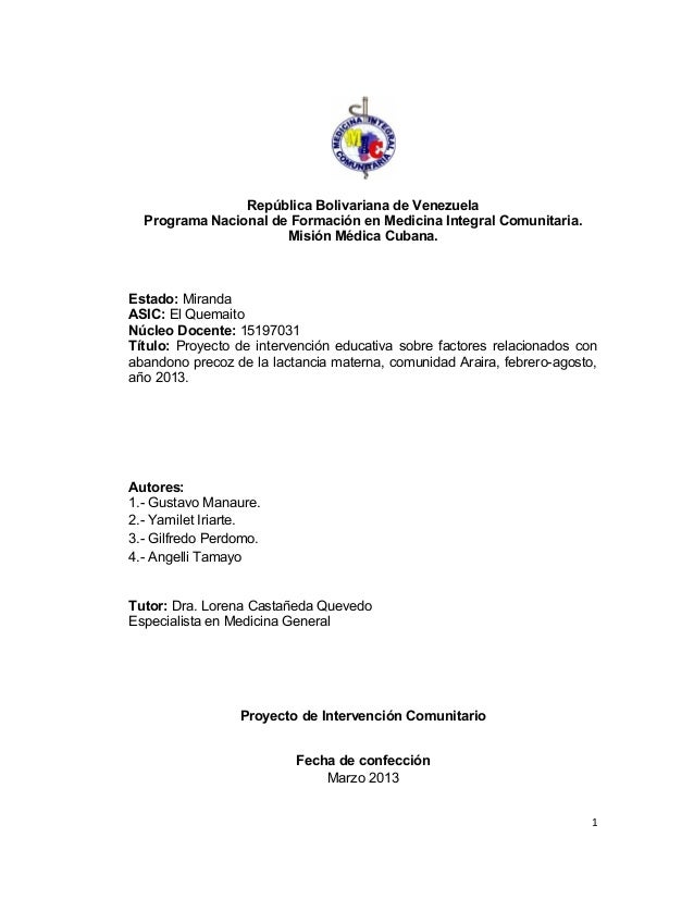 República Bolivariana de Venezuela Programa Nacional de Formación en Medicina Integral Comunitaria. Misión Médica Cubana. ...