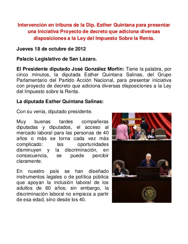 Intervención en tribuna de la Dip. Esther Quintana para presentaruna Iniciativa Proyecto de decreto que adiciona diversasd...