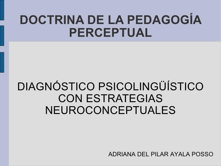 DOCTRINA DE LA PEDAGOGÍA PERCEPTUAL DIAGNÓSTICO PSICOLINGÜÍSTICO CON ESTRATEGIAS NEUROCONCEPTUALES ADRIANA DEL PILAR AYALA...