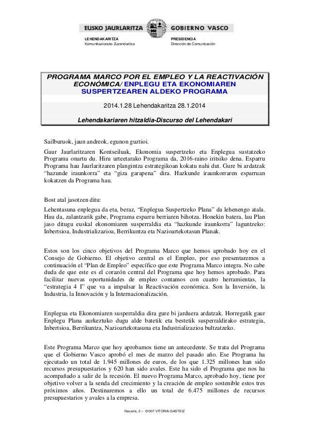 Intervencion del Lehendakari - Programa Marco por el Empleo y la Reactivación Económica