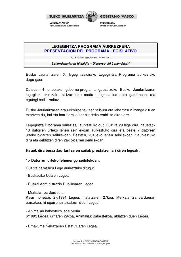 Discurso del Lehendakari - Calendario legislativo.