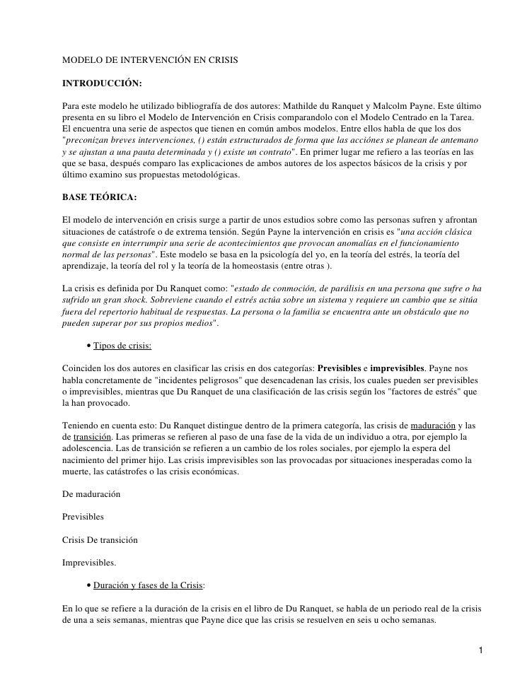 MODELO DE INTERVENCIÓN EN CRISISINTRODUCCIÓN:Para este modelo he utilizado bibliografía de dos autores: Mathilde du Ranque...