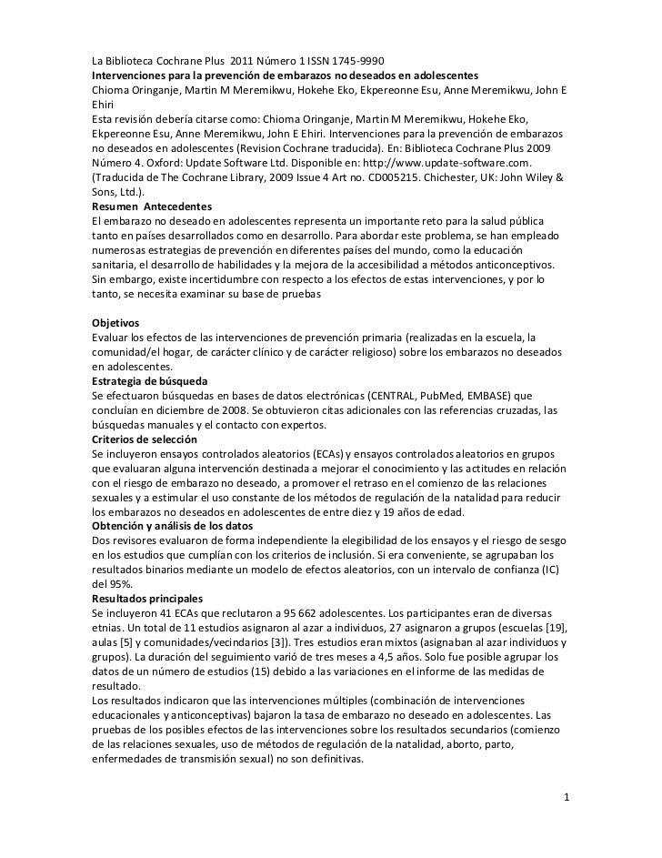 La Biblioteca Cochrane Plus 2011 Número 1 ISSN 1745-9990Intervenciones para la prevención de embarazos no deseados en adol...