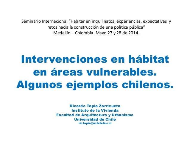 Intervenciones en hábitat en áreas vulnerables. Algunos ejemplos chilenos. Ricardo Tapia Zarricueta Instituto de la Vivien...