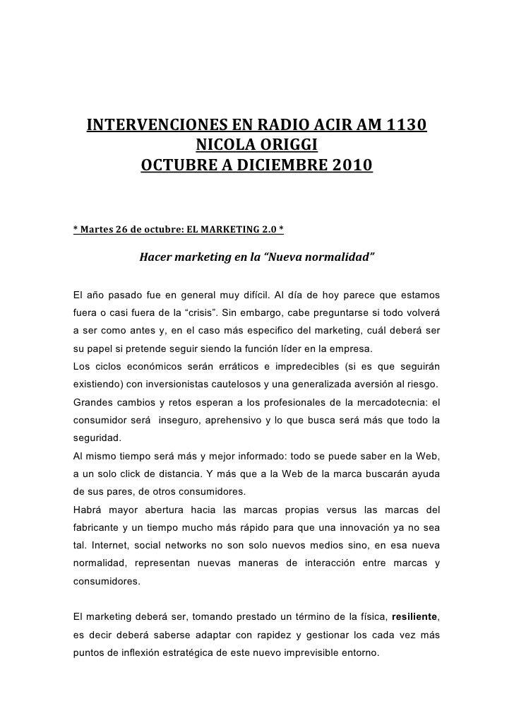 Intervenciones en Radio Acir AM1130 (Nicola Origgi)