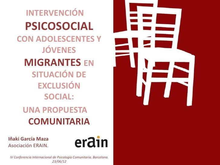 Intervencion psicosocial con jovenes migrantes exclusion social