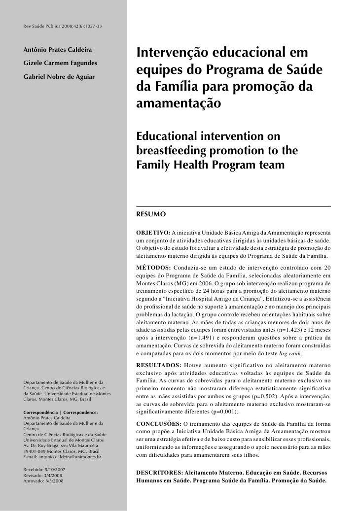Rev Saúde Pública 2008;42(6):1027-33     Antônio Prates Caldeira                                             Intervenção e...