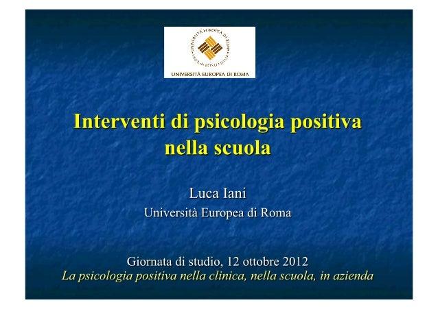 Interventi di Psicologia positiva nella scuola