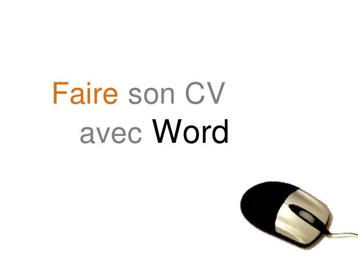 Faireson CV avec Word<br />