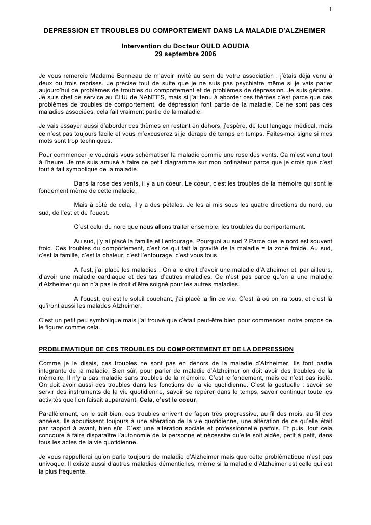 1    DEPRESSION ET TROUBLES DU COMPORTEMENT DANS LA MALADIE D'ALZHEIMER                                  Intervention du D...