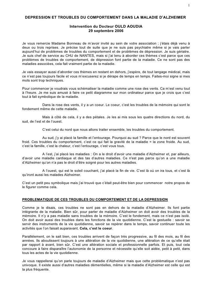 DEPRESSION ET TROUBLES DU COMPORTEMENT DANS LA MALADIE D'ALZHEIMER ...
