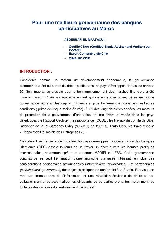 Pour une meilleure gouvernance des banques participatives au Maroc ABDERRAFI EL MAATAOUI : - Certifié CSAA (Certified Shar...