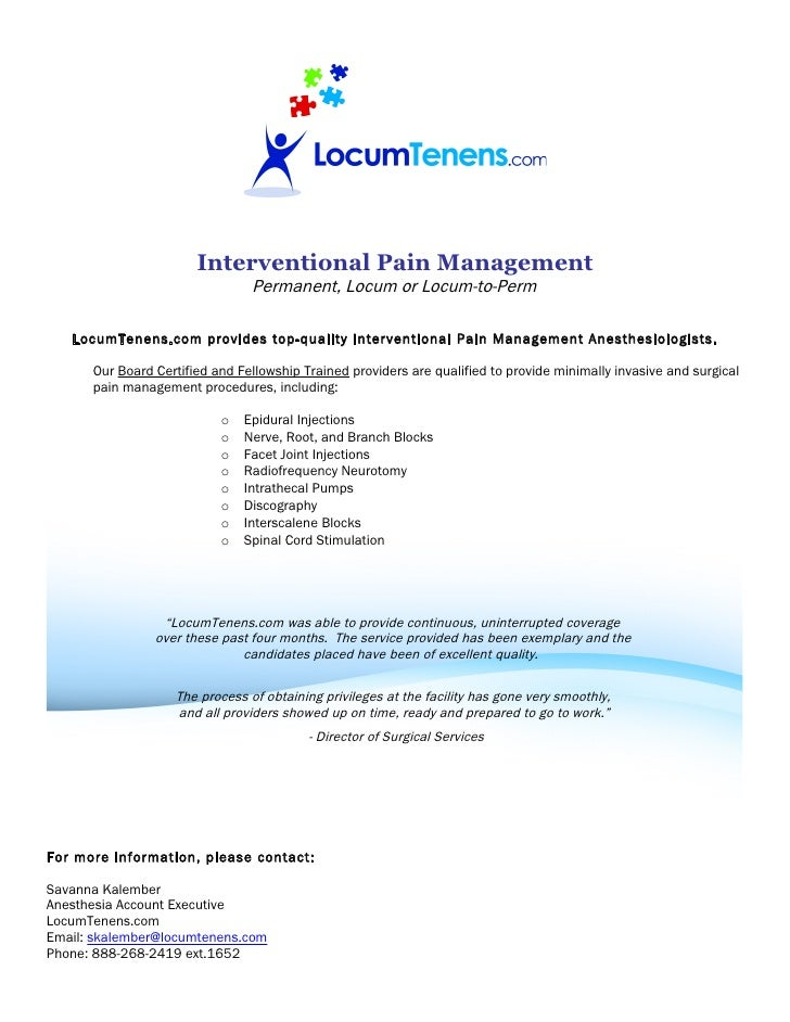 Interventional Pain Management                                 Permanent, Locum or Locum-to-Perm     LocumTenens.com provi...