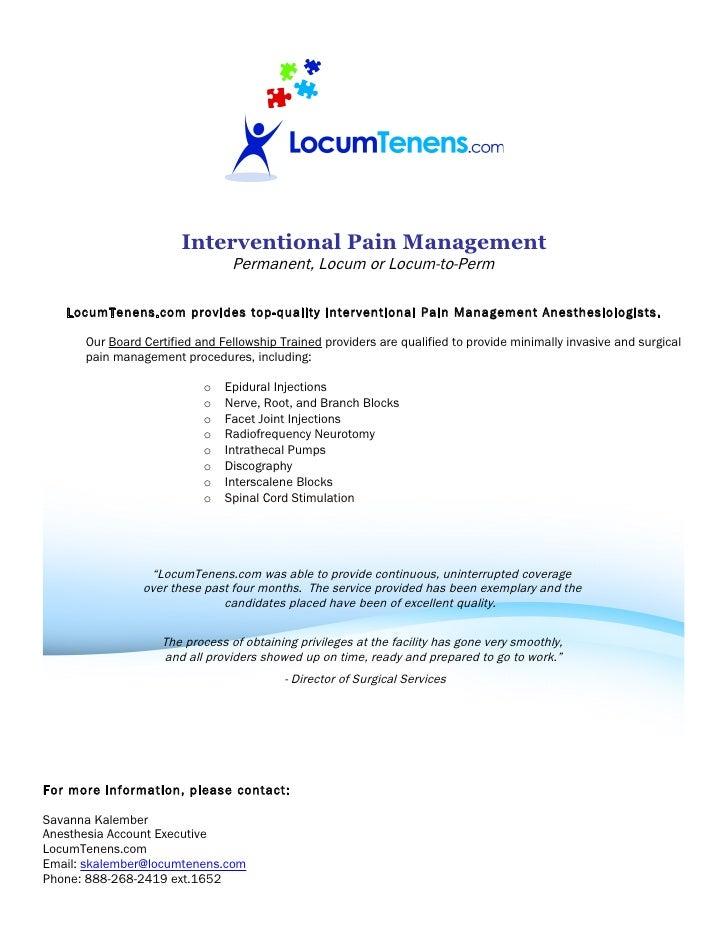 Interventional Pain Management Flyer Deb Zelnio