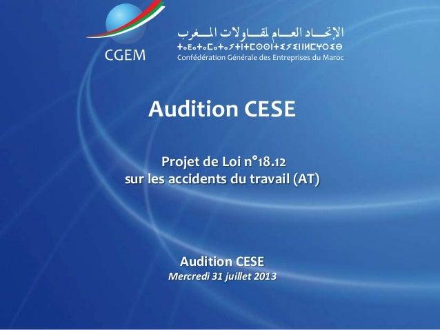 Audition CESE Projet de Loi n°18.12 sur les accidents du travail (AT) Audition CESE Mercredi 31 juillet 2013