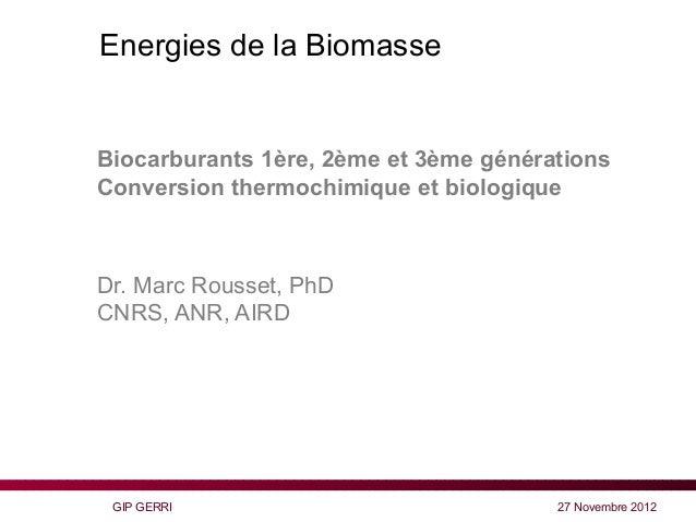 Energies de la Biomasse - Biocarburants 1ère, 2ème et 3ème générations Conversion thermochimique et biologique