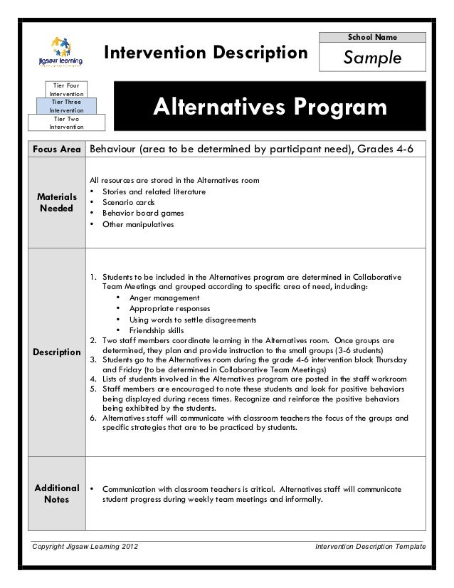 Intervention Description - Alternatives Program (behavior sample)