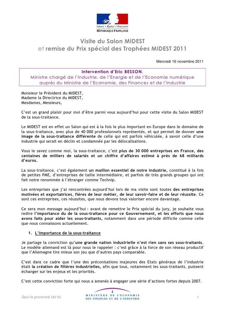 Visite du Salon MIDEST          et remise du Prix spécial des Trophées MIDEST 2011                                        ...