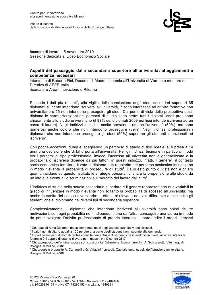 Centro per l'innovazionee la sperimentazione educativa MilanoIstituto di ricercadella Provincia di Milano e dell'Unione de...