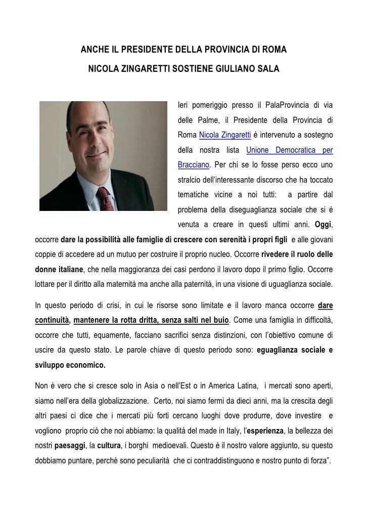 Intervento del Presidente Nicola Zingaretti a favore di Giuliano Sala