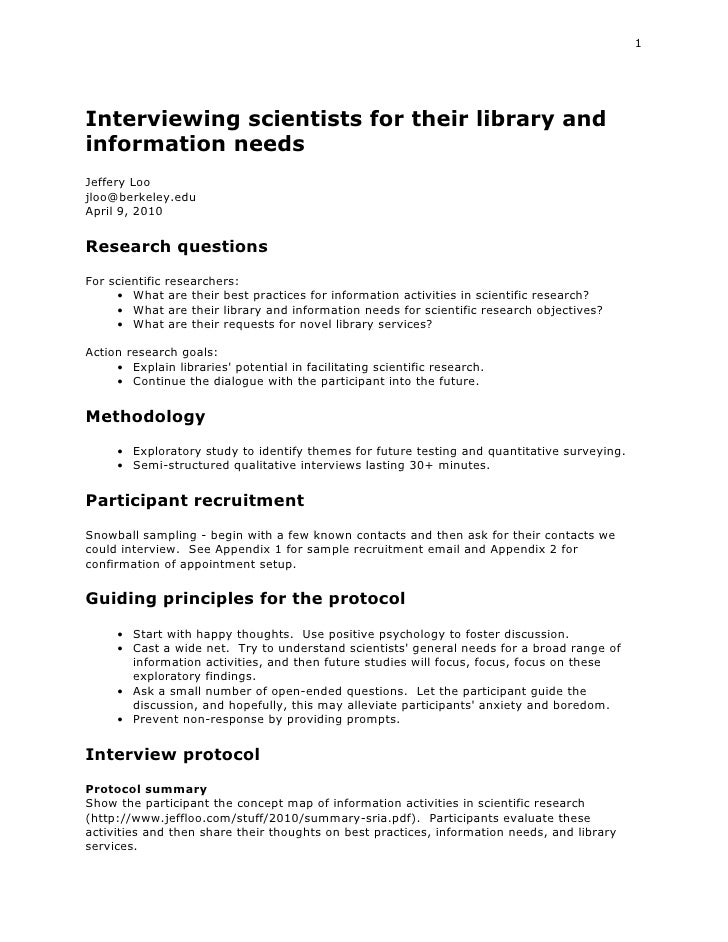 Protocol for interviewing scientists for their library and information needs