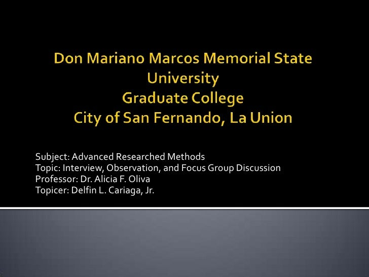 Don Mariano Marcos Memorial State UniversityGraduate CollegeCity of San Fernando, La Union<br /> <br />Subject: Advanced R...