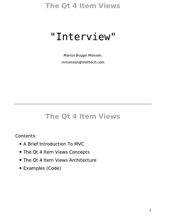 The Qt 4 Item Views