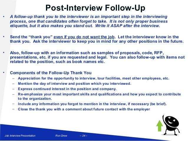 post job interview follow up