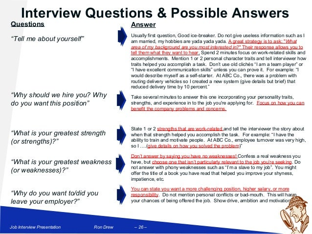 personality interview questions and answers