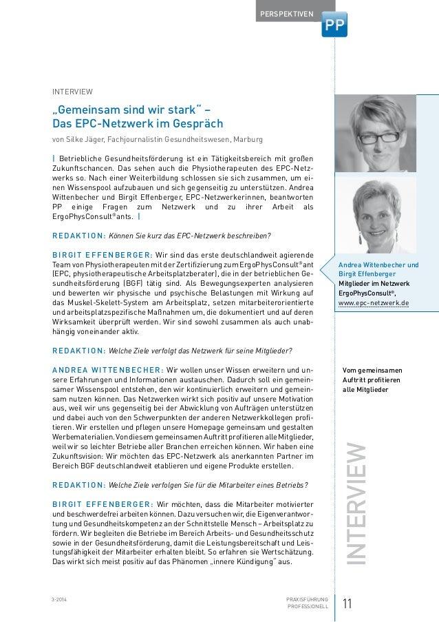 """113-2014 Praxisführung Professionell Perspektiven Interview """"Gemeinsam sind wir stark"""" – Das EPC-Netzwerk im Gespräch von ..."""