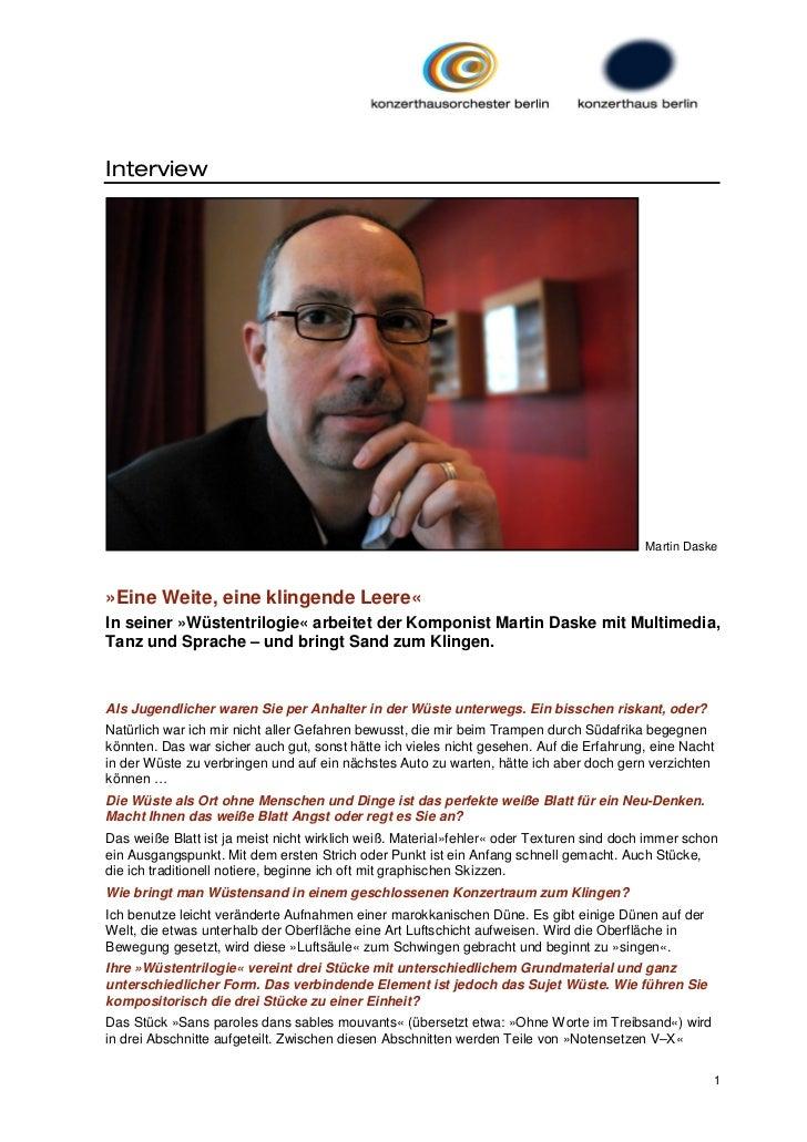 Interview                                                                                         Martin Daske»Eine Weite,...