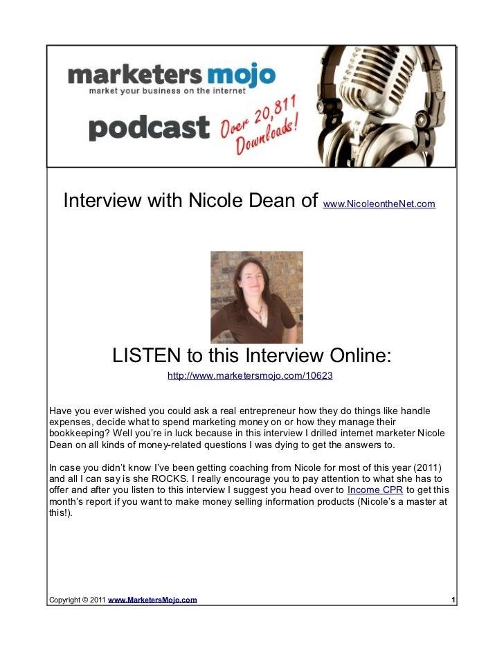 Online Business & Money Interview With Nicole Dean