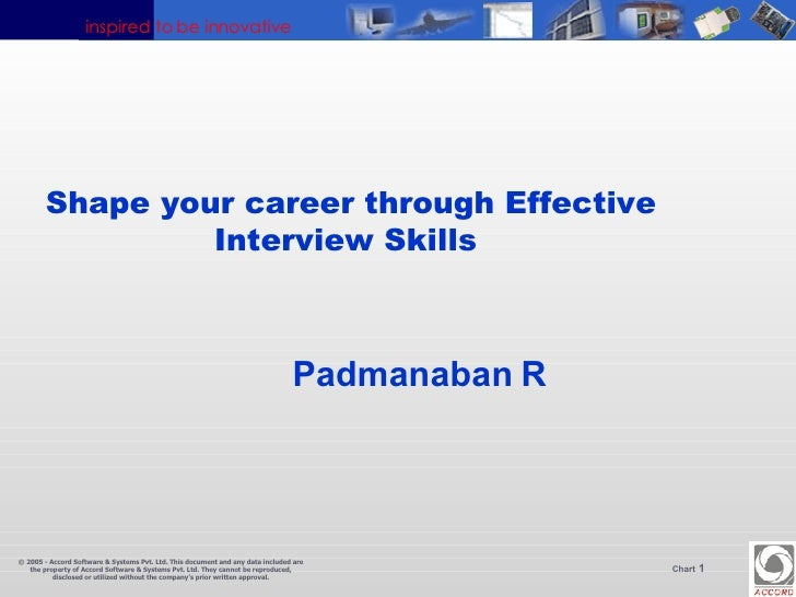 Shape your career through Effective Interview Skills  Padmanaban   R