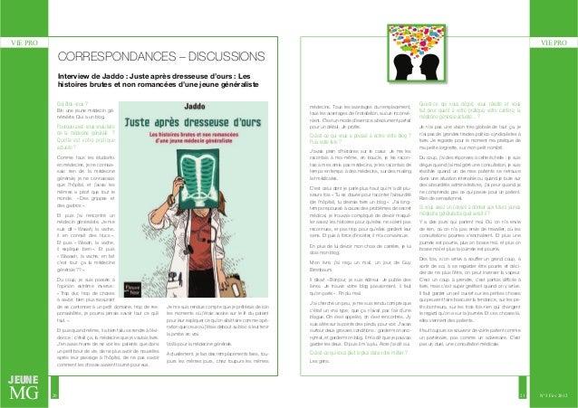 VIE PRO VIE PRO  JEUNE  MG  20 21  N°3 Fév 2012  CORRESPONDANCES – DISCUSSIONS  Interview de Jaddo : Juste après dresseuse...